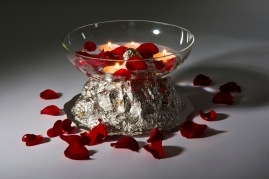 Sterling silver mountain fruit bowl with hand blown glass.