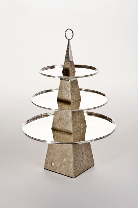 Sterling silver and Derbyshire limestone Petit Four stand, commissioned by Sheffield Assay Office.